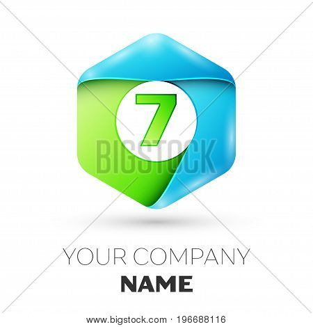 Number seven vector logo symbol in the colorful hexagonal on white background. Vector template for your design