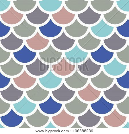 Traditional Japanese seamless pattern colored fish squama. stock vector