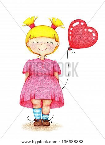 hand drawn picture of young smiling girl in pink dress standing with pink balloon by the color pencils on white background