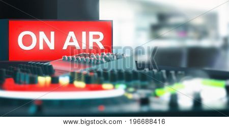 On air symbol, recording studio with mixer, radio, render illustration 3d