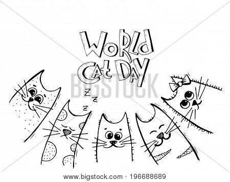 Vector background with words World cat day and hand drawn cartoon black and white cats or kittens. May be used as a love card.