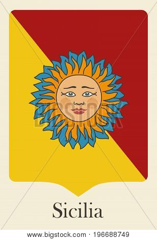 Pennant in the colors of Sicily with the traditional image of the sun