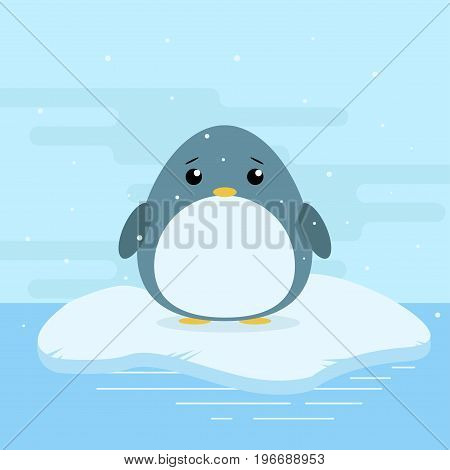 Cute Cartoon Illustration Of Penguin On Iceberg In Antarctica. Cold Weather With Snow. Flat Vector D