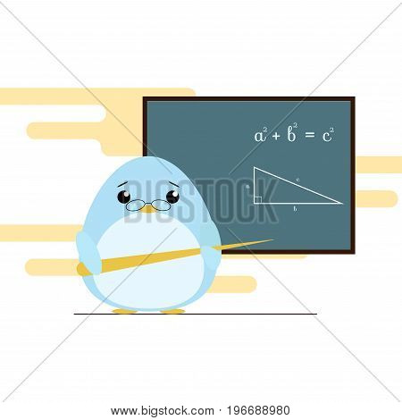 Vector Illustration Of Penguin - Teacher Standing With Board And Teaching Of Geometry Theorem. Cute