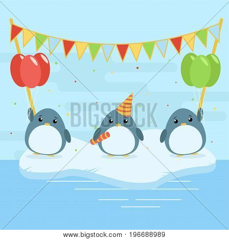 Cartoon Illustration Of Three Cute Penguins With Balloons And Falgs On Ice Floe. Flat Design For Chi
