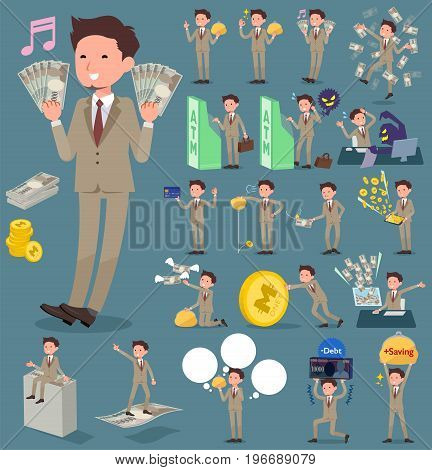 Flat Type Beige Suit Short Hair Beard Man_money