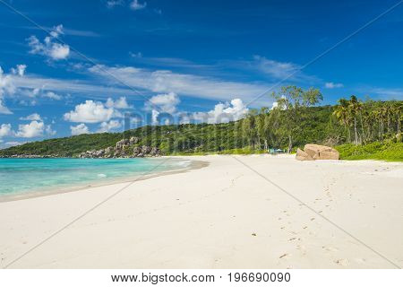 Perfect white sand at Grand Anse, La Digue island, Seychelles