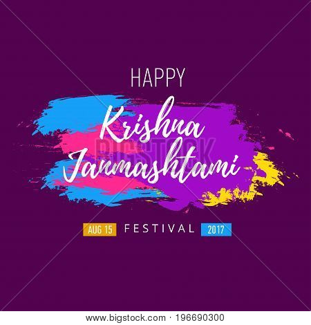 Vector banner, poster or greeting card for indian festival of Happy Krishna Janmashtami with hand drawn lettering.