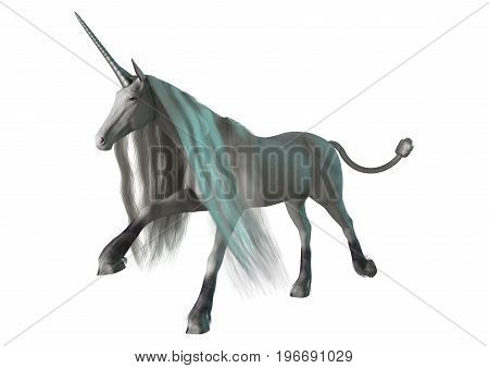 3D rendering of a fairy tale white unicorn galloping isolated on white background