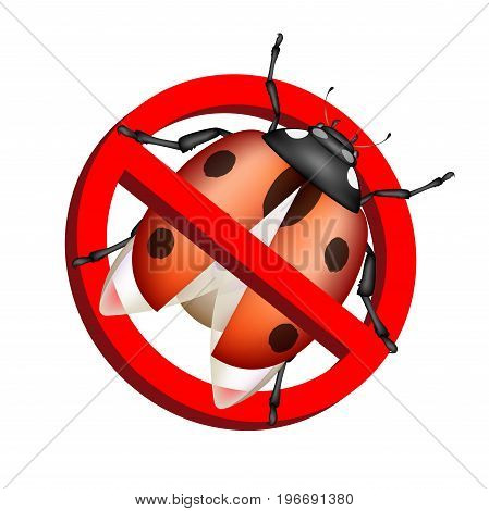 No bug prohibition sign vector on white background