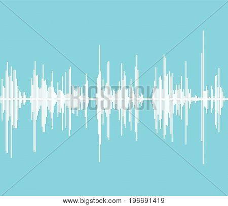 Blue sound wave. Audio frequency. Music wave background. Vector stock.