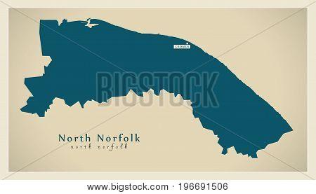 Modern Map - North Norfolk District England Uk Illustration