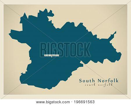 Modern Map - South Norfolk District England Uk Illustration