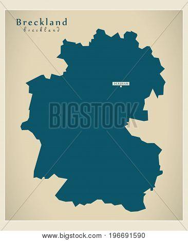 Modern Map - Breckland District Of Norfolk England Uk Illustration