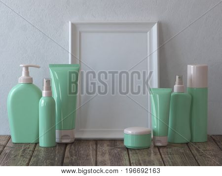 Set of cosmetics with mirror or picture. Mock up. 3d illustration