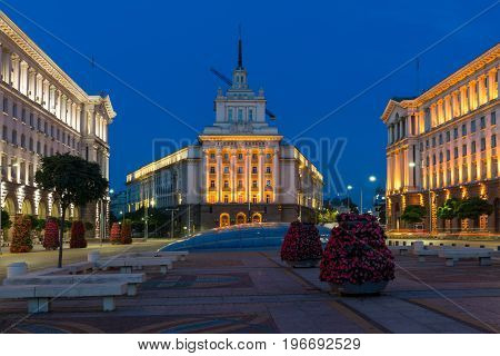 SOFIA, BULGARIA - JULY 21, 2017: Night photo of Buildings of Presidency, Buildings of Council of Ministers and Former Communist Party House in Sofia, Bulgaria