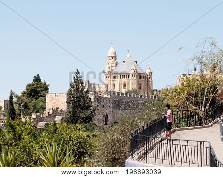 Jerusalem Israel July 14 2017 : The Dormition abbey and Tower of David over the Tomb of King David in the Old City of Jerusalem Israel
