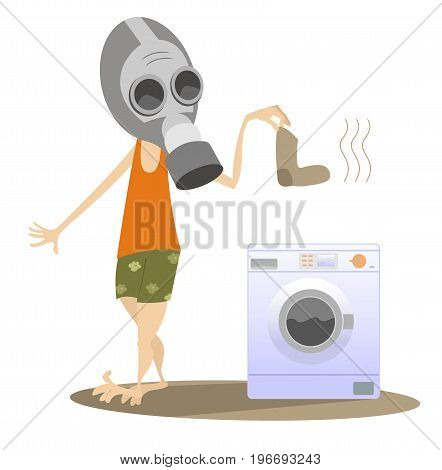 Dirty laundry, man in the gas mask and washing machine isolated. Man in the gas mask holds a dirty sock and going to wash it in the washing machine