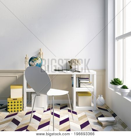 Modern light interior a place for study consisting of working Desk book globe. 3D illustration. wall mock up
