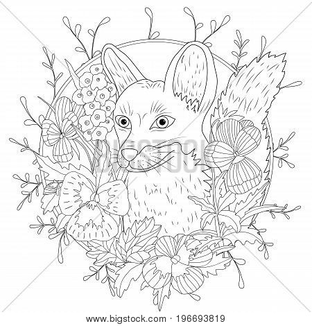 Stylized cartoon wild fox animal and violet flowers. Freehand sketch for adult anti stress coloring book page.