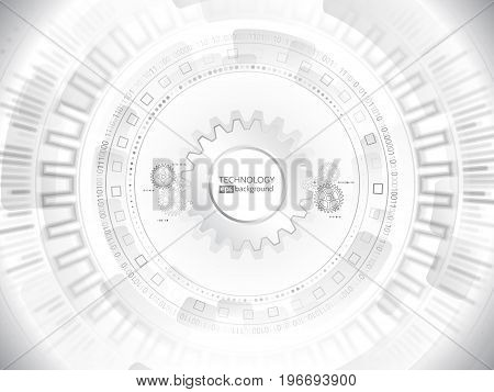 Abstract digital hi tech technology concept. Radial computer innovation design. Techno texture on the grey background. Futuristic communication board. Vector illustration