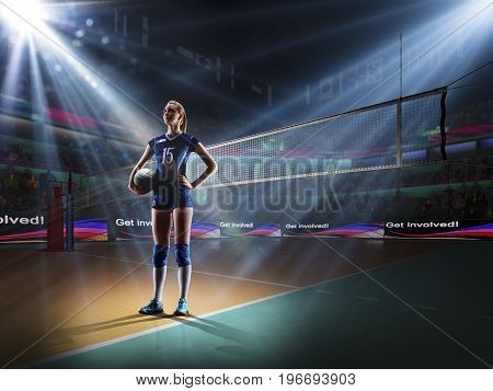 Female professional volleyball player on grand court in hilights