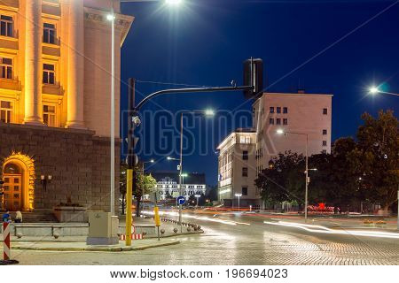 SOFIA, BULGARIA - JULY 21, 2017: Night photo of Building of Bulgarian National Bank in city of Sofia, Bulgaria