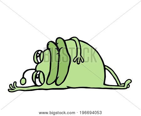 Cartoon green germ resting lying down after meal. Holidays and vacations. Cute animation character. Vector illustration.