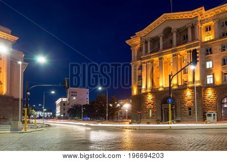 SOFIA, BULGARIA - JULY 21, 2017: Night photo of Buildings of Presidency and Former Communist Party House in Sofia, Bulgaria