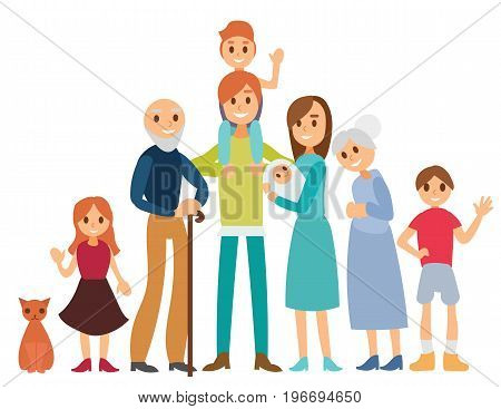 Set of eight happy family members isolated on white background. Vector cartoon illustration