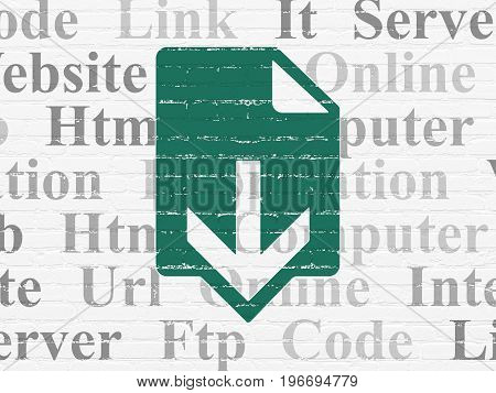 Web development concept: Painted green Download icon on White Brick wall background with  Tag Cloud