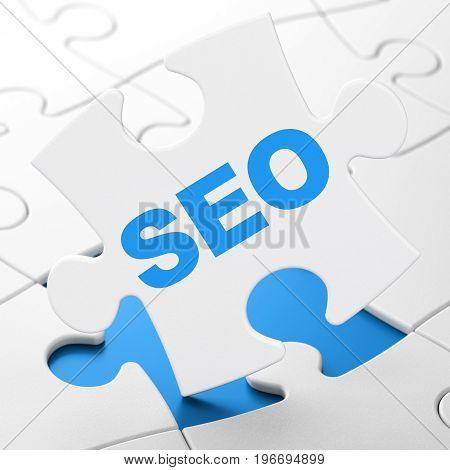 Web design concept: SEO on White puzzle pieces background, 3D rendering