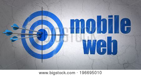 Success web development concept: arrows hitting the center of target, Blue Mobile Web on wall background, 3D rendering