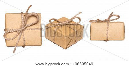 Gift box wrapped in kraft paper isolated on white background. Set of boxes, view from different sides