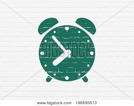 Time concept: Painted green Alarm Clock icon on White Brick wall background