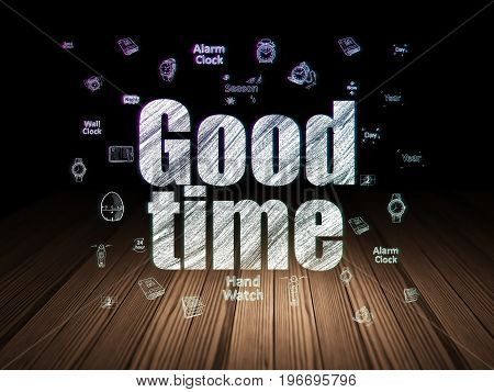Time concept: Glowing text Good Time,  Hand Drawing Time Icons in grunge dark room with Wooden Floor, black background
