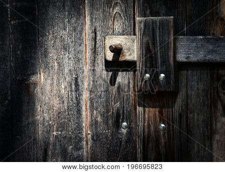 old architecture background detail latch on wooden gate