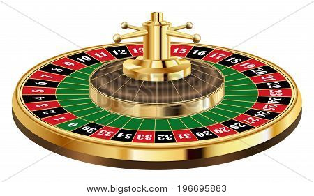 Real casino roulette on a white background