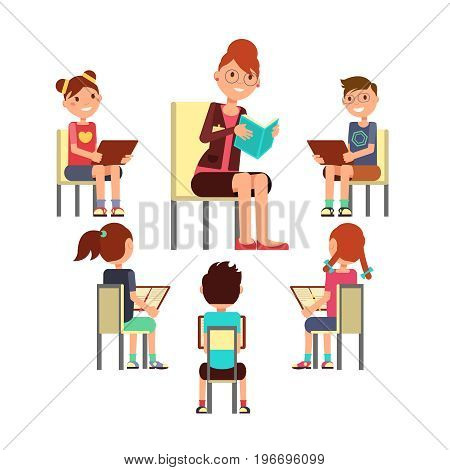 Teacher reading book to children that sitting around. Kids education vector concept. Education boy and girl on read lesson illustration