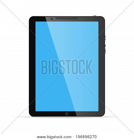 Modern touch screen tablet computer isolated on white background. Tablet computer with blue screen. Vector illustration.