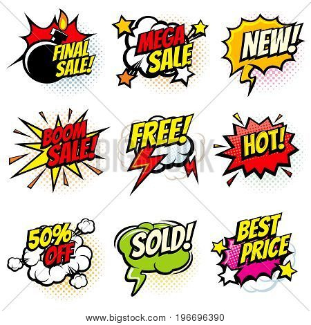 Best offer and sale promotional vector collection of pop art cartoon speech bubbles. Sale and promotion cartoon speech cloud illustration