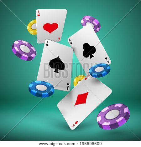 Falling playing cards and poker chips gambling background. Casino success game 3d vector concept. Chip for poker game and play card illustration