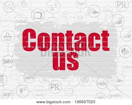Marketing concept: Painted red text Contact Us on White Brick wall background with Scheme Of Hand Drawn Marketing Icons