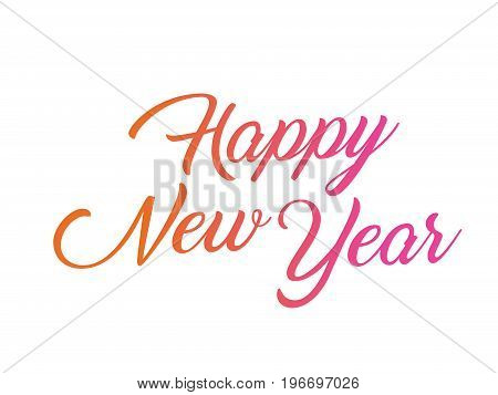 The colorful gradient isolated hand writing word HAPPY NEW YEAR on white blackground