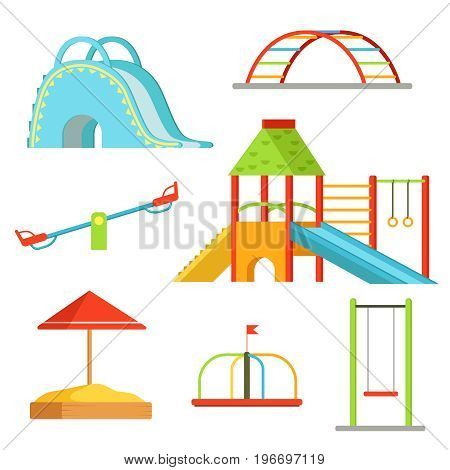 Different equipment on playground for children games. Vector background playground equipment for play and game illustration