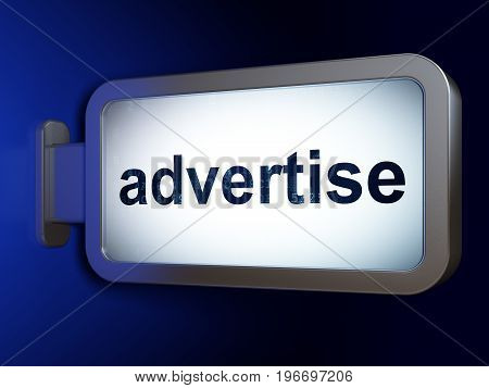 Marketing concept: Advertise on advertising billboard background, 3D rendering