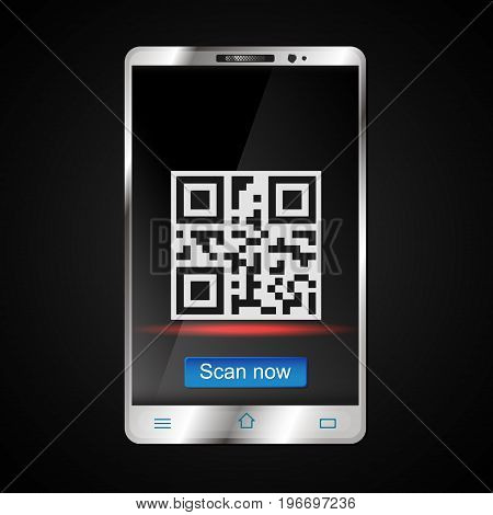 Scanning a QR code on a smartphone vector illustration