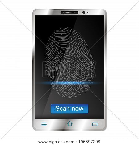 Smartphone with fingerprint scanners on display vector illustration