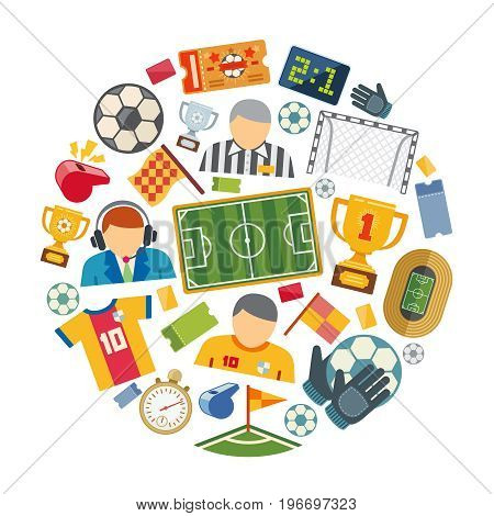 Soccer or european football vector flat icons set. Football or soccer ball for sport game illustration