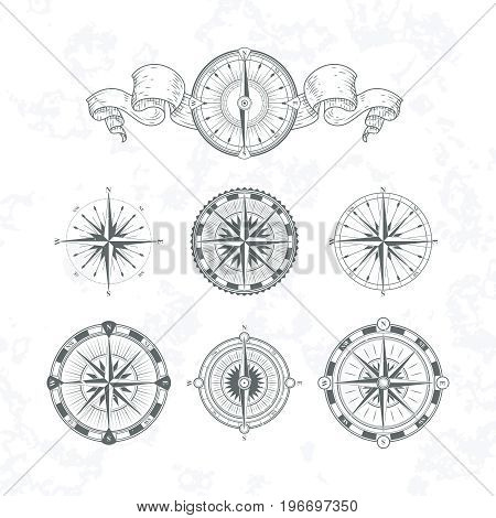 Orientation antique compas in vintage style. Vector monochrome illustrations. Set of compas with wind rose